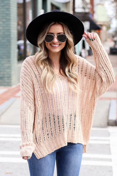 Blush - Loose Ribbed Knit Sweater