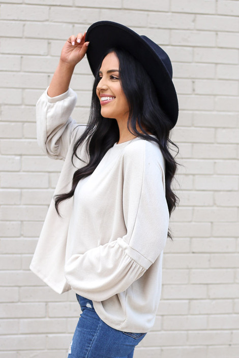 Taupe - Oversized Brushed Knit Sweater from Dress Up