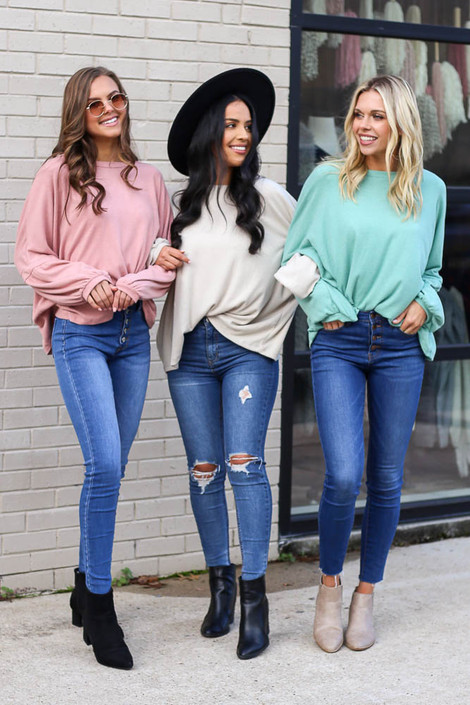 Blush - Oversized Brushed Knit Sweater