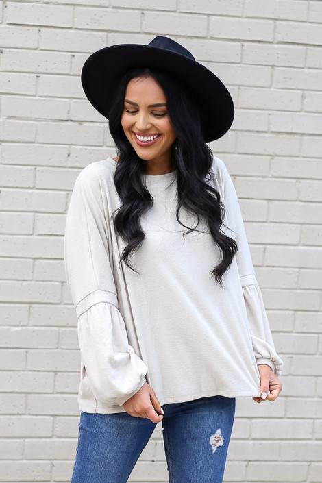 Model wearing the Oversized Brushed Knit Sweater in Taupe from Dress Up Front View