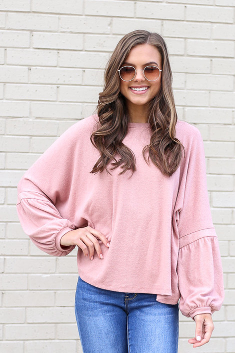 Model wearing the Oversized Brushed Knit Sweater in Blush from Dress Up Front View