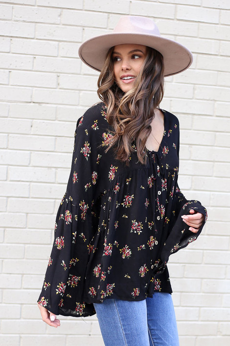 Black - Bell Sleeve Floral Babydoll Blouse from Dress Up