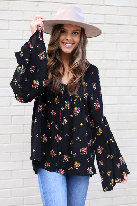 Black - Bell Sleeve Floral Babydoll Blouse