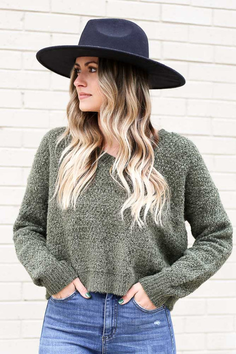 Model wearing the Cropped Chenille Sweater in Olive from Dress Up Front View