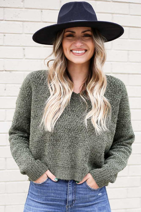 Olive - Cropped Chenille Sweater