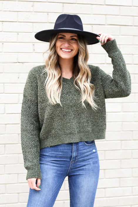 Olive - Cropped Chenille Sweater from Dress Up