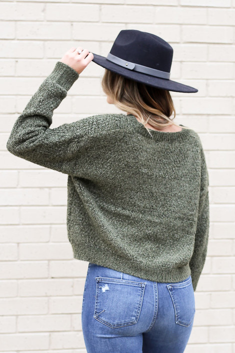 Model wearing the Cropped Chenille Sweater in Olive from Dress Up Back View