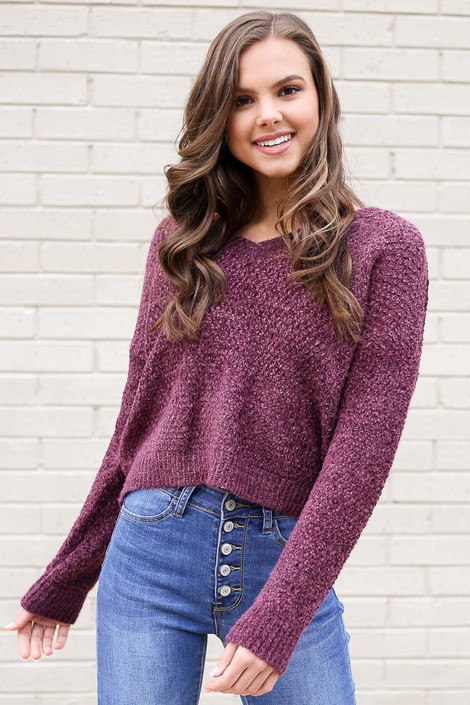 Purple - Cropped Chenille Sweater