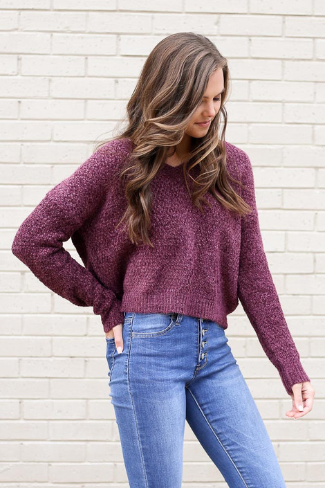Purple - Cropped Chenille Sweater from Dress Up