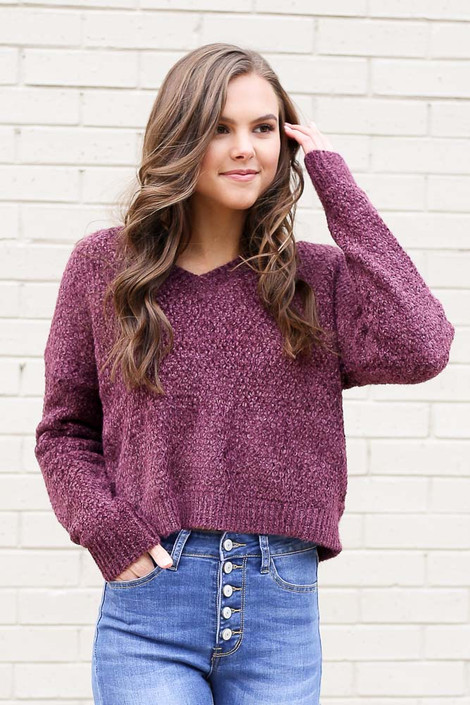 Model wearing the Cropped Chenille Sweater in Purple from Dress Up Front View