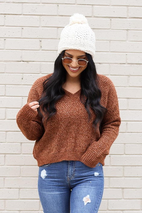 Brown - Cropped Chenille Sweater from Dress Up