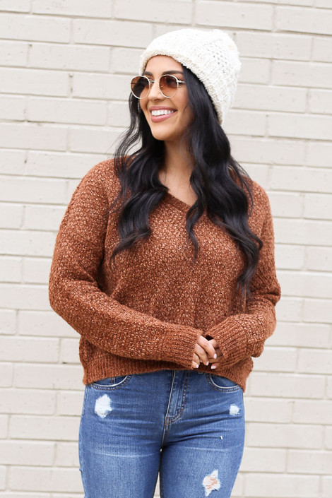 Model wearing the Cropped Chenille Sweater in Brown from Dress Up