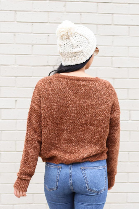 Model wearing the Cropped Chenille Sweater in Brown from Dress Up Back View