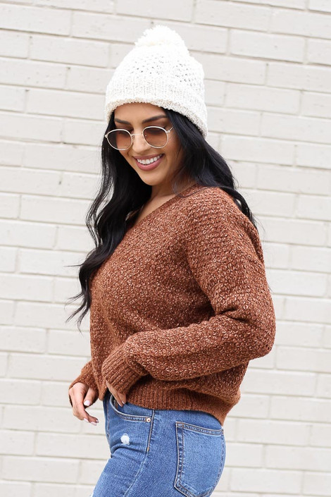 Model wearing the Cropped Chenille Sweater in Brown from Dress Up Side View
