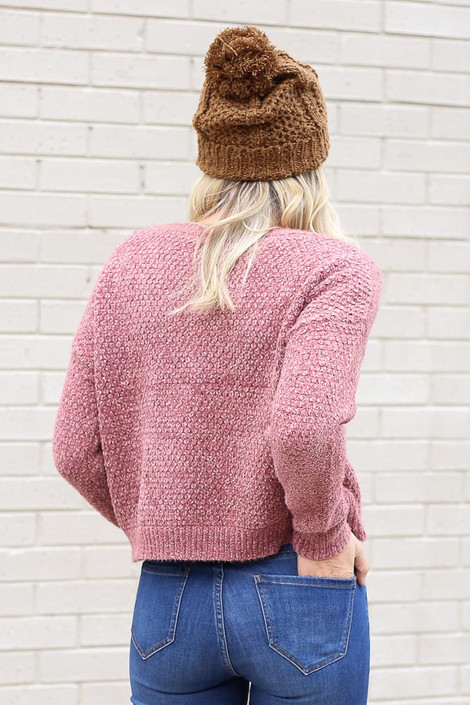 Model wearing the Cropped Chenille Sweater in Blush from Dress Up Back View