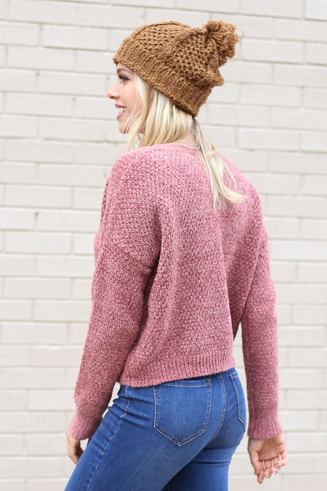 Model wearing the Cropped Chenille Sweater in Blush from Dress Up Side View
