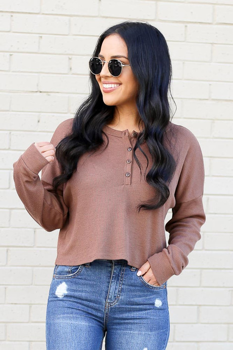 Mocha - Henley Waffle Knit Top from Dress Up