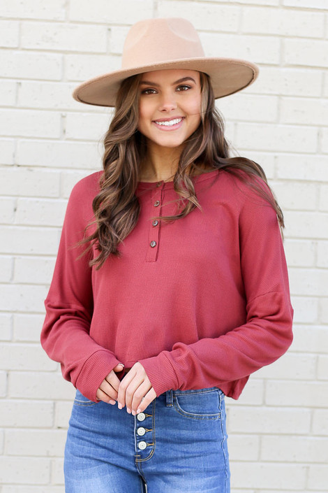 Marsala - Henley Waffle Knit Top Front View