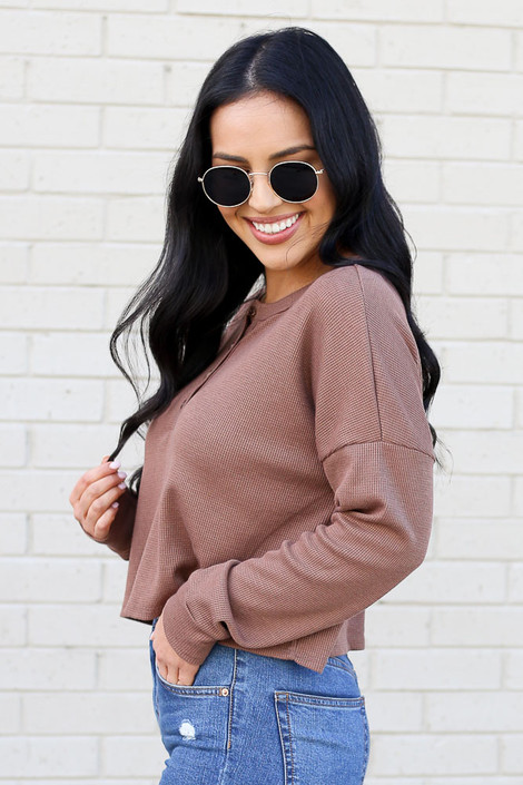 Mocha - Henley Waffle Knit Top Side View