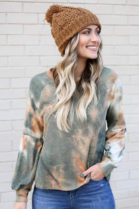 Olive - Tie-Dye Waffle Knit Top from Dress Up