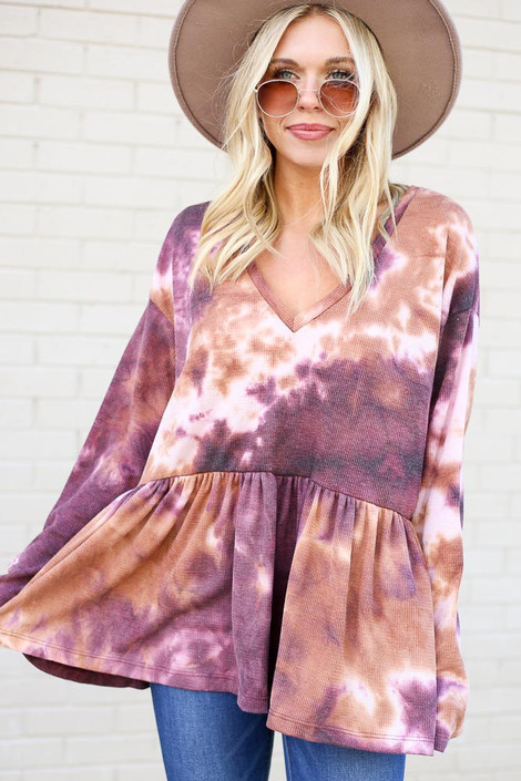 Purple - Tie-Dye Babydoll Tunic