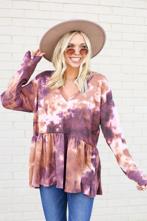 Purple - Tie-Dye Babydoll Tunic from Dress Up