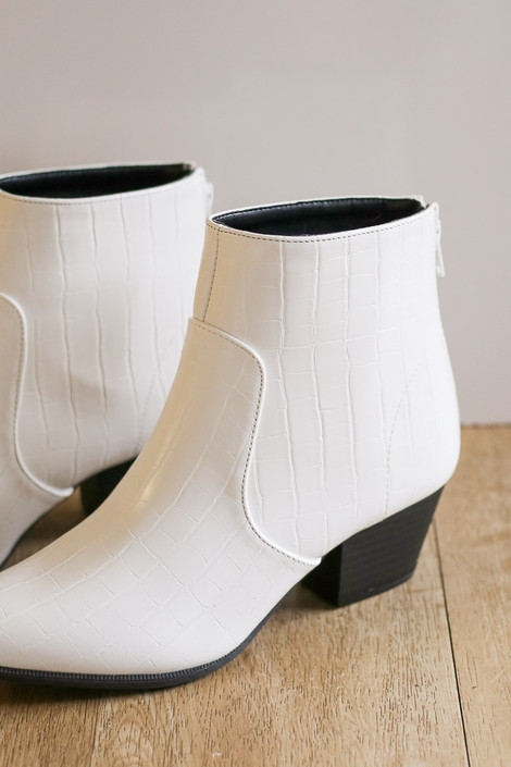 White - Crocodile Pointed Toe Booties in White from Dress Up