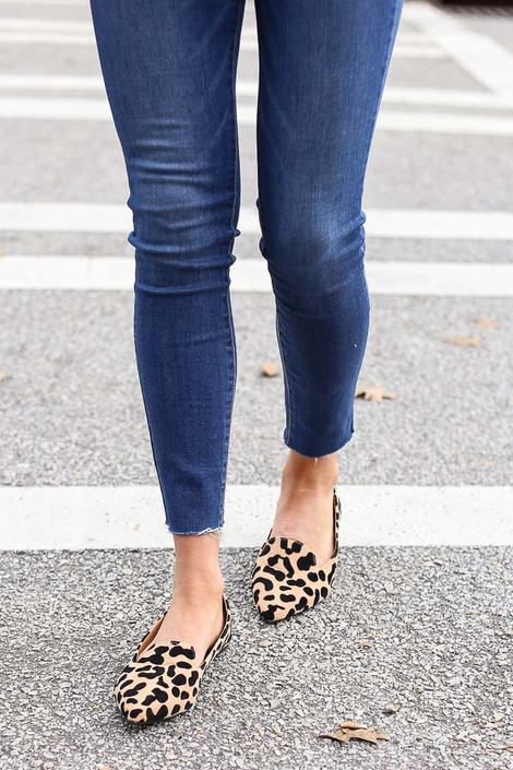 Model walking in the Leopard Pointed Toe Loafer Flats