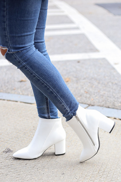 White - Block Heel Ankle Booties
