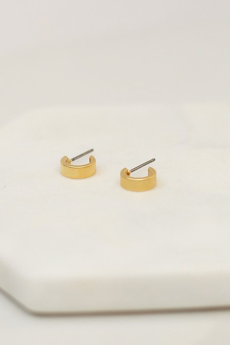 Flat Lay of Gold Mini Hoop Earrings from Dress Up