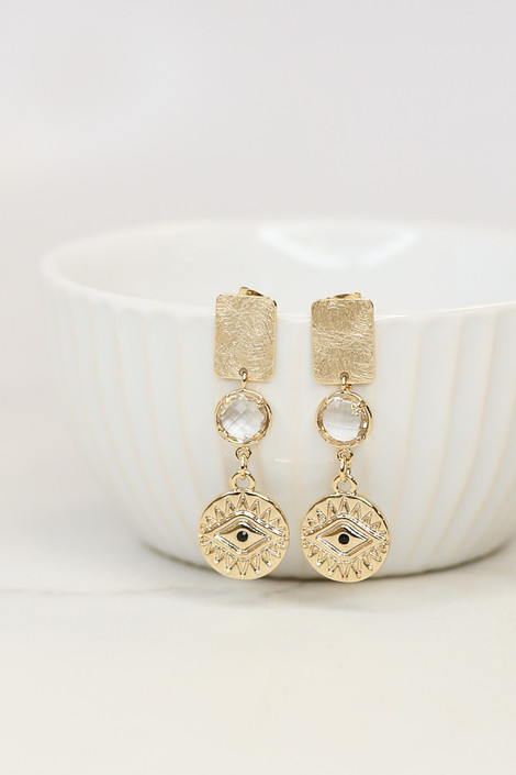 Gold - Evil Eye Drop Earrings