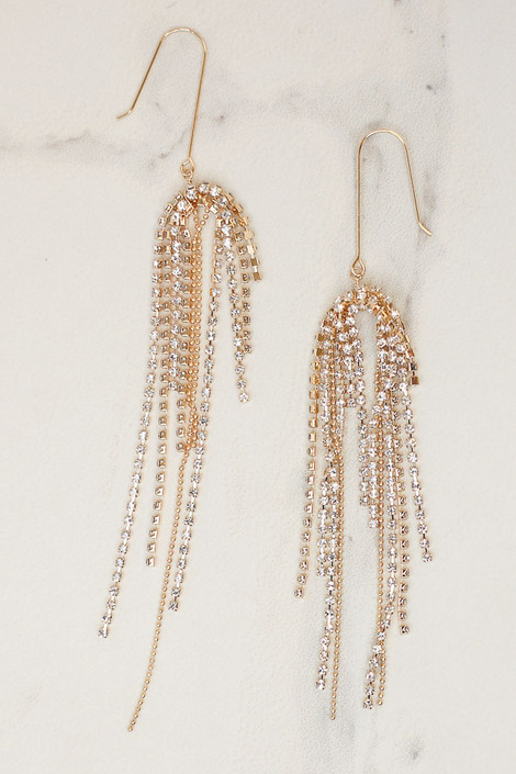 Gold - Rhinestone Chain Tassel Earrings from Dress Up