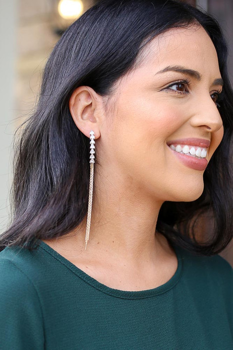 Gold - Rhinestone Chain Drop Earrings