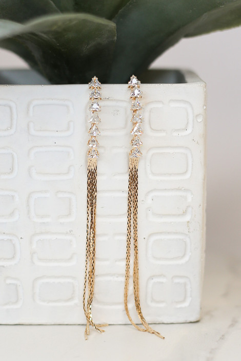 Gold - Rhinestone Chain Drop Earrings from Dress Up
