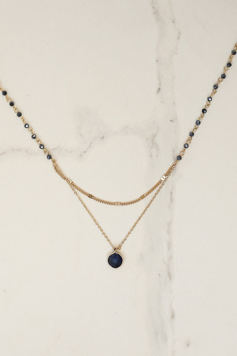Navy - Layered Pendant Necklace from Dress Up