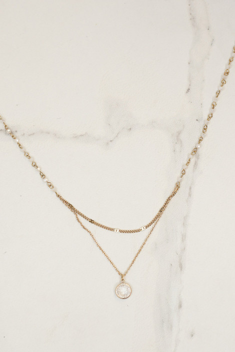 White - Layered Pendant Necklace from Dress Up