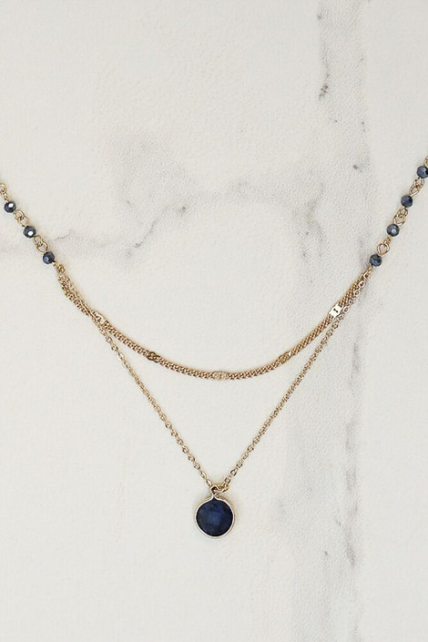 Navy - Layered Pendant Necklace