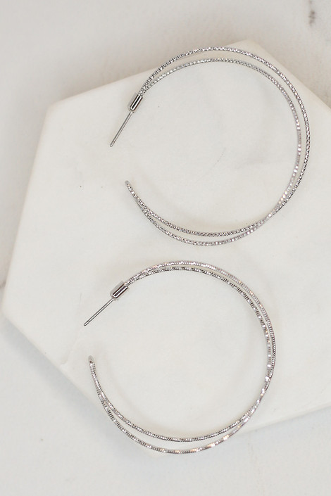 Silver - Textured Open Hoop Earrings  from Dress Up