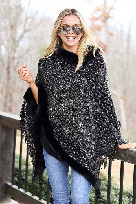 Black - Faux Fur + Fringe Knit Poncho