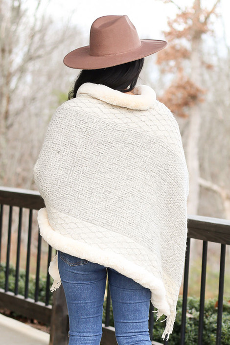 Faux Fur + Fringe Knit Poncho in Ivory Back View