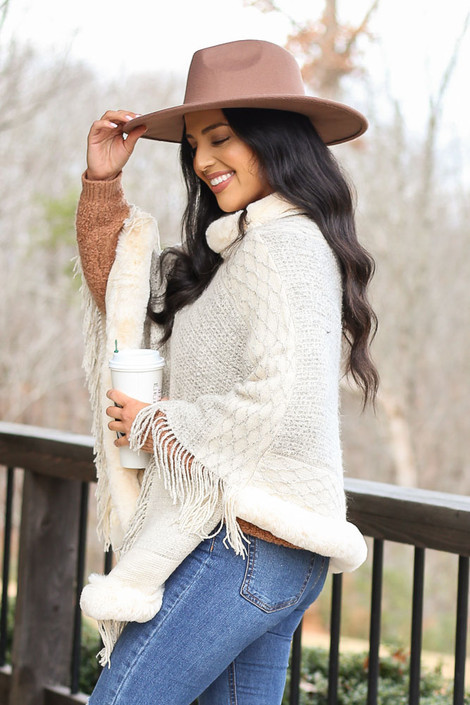 Faux Fur + Fringe Knit Poncho in Ivory Side View