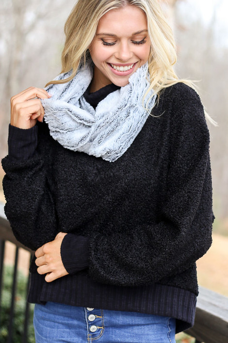 Black - Faux Fur Infinity Scarf Front View