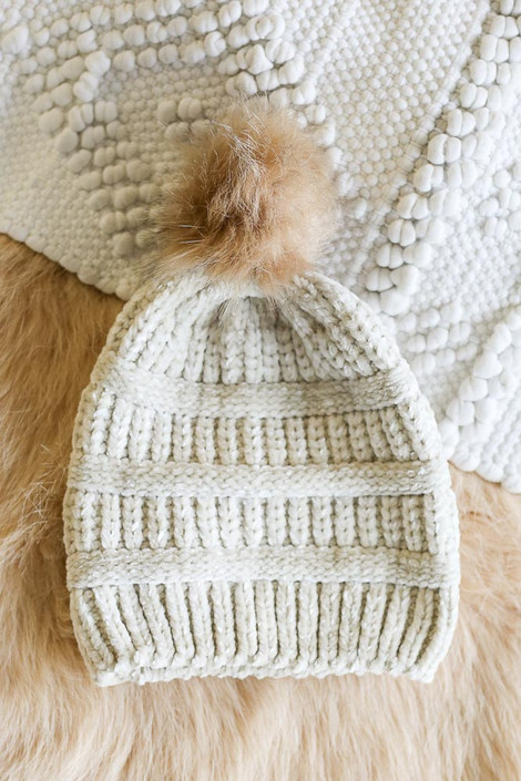 Ivory - Chenille Pom Pom Beanie from Dress Up