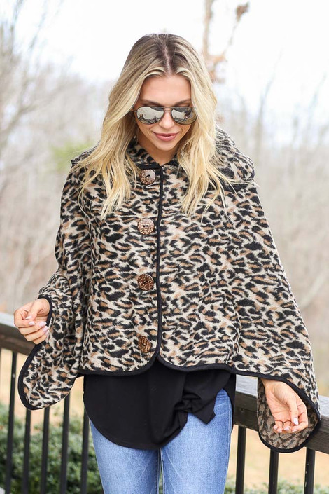 Ivory - Leopard Oversized Collar Poncho from Dress Up
