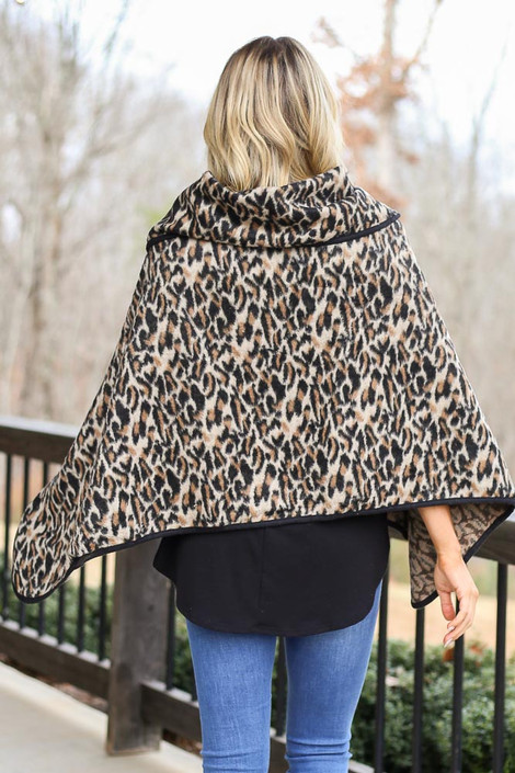 Leopard Oversized Collar Poncho Back View