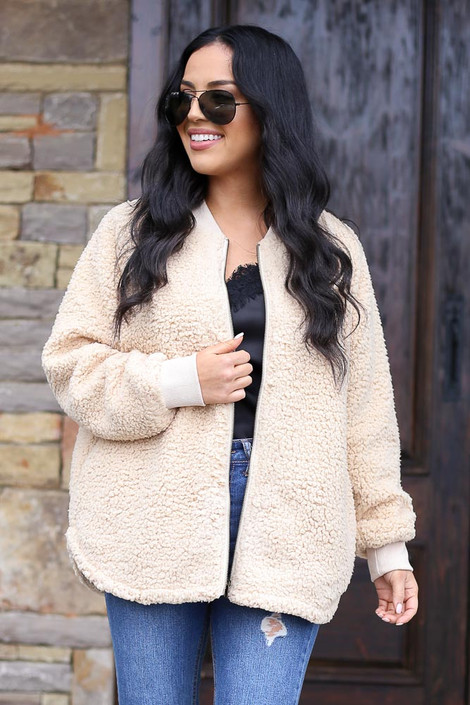 Taupe - Sherpa Bomber Jacket from Dress Up