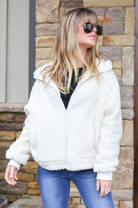 White - Hooded Sherpa Jacket from Dress Up