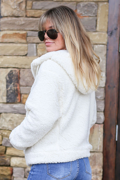 Hooded Sherpa Jacket Side View