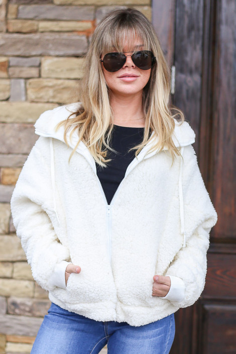White - Hooded Sherpa Jacket