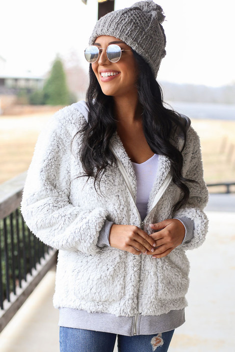 Grey - Heather Knit + Sherpa Jacket